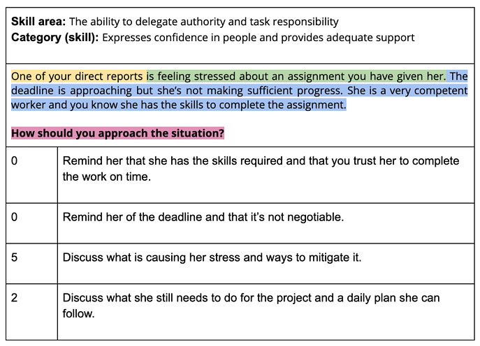 Screenshot 202situational judgment test question - leadership and people management
